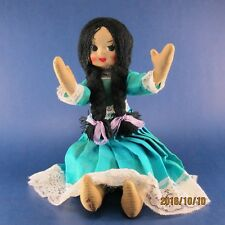Vintage Cloth Doll, Molded face, Jointed arms and legs, Braids and Blue Dress