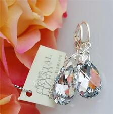 925 SILVER EARRINGS PEAR/ALMOND CRYSTAL CAL 22mm MADE WITH SWAROVSKI®