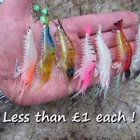 7 Luminous soft rubber shrimp prawn saltwater baits tuna bass pollack lures bait