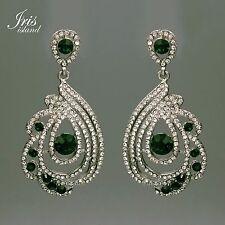 Rhodium Plated Green Crystal Rhinestone Drop Dangle Chandelier Earrings 0502 New
