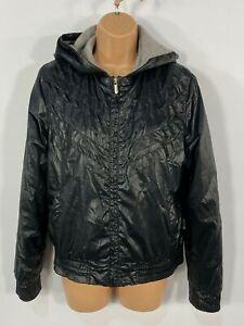 WOMENS EVERLAST BLACK SHINY HOODED CASUAL LIGHTWEIGHT BOMBER JACKET COAT UK 12