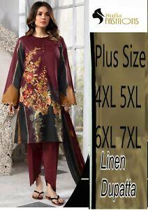 Women Shalwar Kameez Lilan Plus size 4/5/6/7XL Stitched Kurta Salwar Dupatta