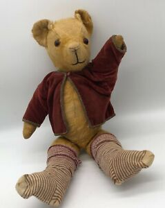 Antique English Chad Valley Bear Gold with socks and jacket worn mohair England