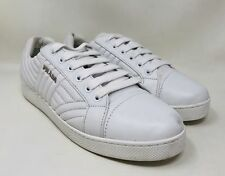 Prada Women's Quilted Leather Lace-up Sneaker Size 39 White MSRP $620