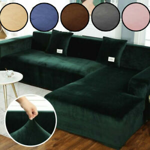 Couch Velvet Stretch Elastic Sofa Protection Covers Sectional Corner L Shape