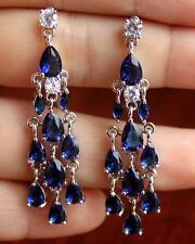 18K White Gold Filled - 2.6'' Waterdrop Navy Blue Topaz Party Chandelie Earrings