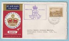 NORFOLK ISLAND 1953 QUEEN ELIZABETH CORONATION COVER - QUANTAS AIRLINES