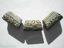 Antique Venetian Millefiori Trade Beads, Black/Maize/Turquoise - 16.5x10mm - 3