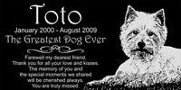 "Personalized West Highland Terrier Dog Pet Memorial 12""x6"" Granite Grave Marker"