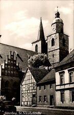 Jüterbog DDR Postkarte 1961 gelaufen Straßenpartie an der St. Nicolaikirche Auto
