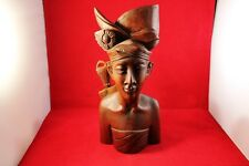 "Vintage 10"" Bali ""KlungKung"" Male Figure Teakwood Bust Hand Wood Carved Statue"