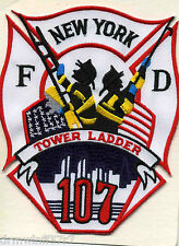 """New York City - Tower Ladder-107  (4"""" x 5"""" size) fire patch"""