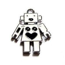 5 PEZZI 22x28mm Robot Lega di Zinco Smalto Ciondolo Ciondoli-a0027