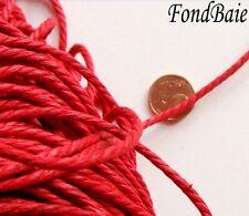 10 mètres coton ciré ROUGE fil 2,5mm cordon torsade lacet DIY bijoux loisirs