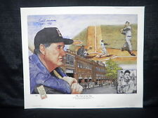 Ted Williams Signed Boston Red Sox Lewis Watkins San Diego Padres Lithograph JSA
