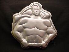 VINTAGE Wilton SUPER HERO MAN cake pan SUPERMAN BATMAN DAD metal baking mold tin