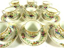 NINE ANTIQUE CONTINENTAL RUSSIAN PARIS PORCELAIN EMPIRE COFFEE CUPS & SAUCERS