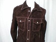 VINTAGE 70's HEAVY SUEDE RANCHER DARK BROWN LEATHER JACKET LINED  S Small