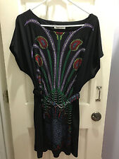 Women's Peacock Short Sleeve Dress with Belt-Size L-by Oxford Circus