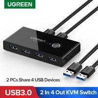 Ugreen 4 Ports USB 3.0 Teilen USB Switch KVM Switcher mit 2 Kabel für Drucker