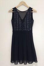 Bnwt Black Beaded Skater Dress Size S Mesh Detail Mini 8-10