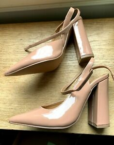 ASOS DESIGN Pace High Block Heels Beige Patent Strappy UK Size 2 Wide Fit New