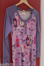 NWT Munki Munki Heather Ross Purple Pink Wine Lover's Henley Night Shirt S $78