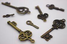 20 pce Metal Antique Bronze Key Charms / Pendants Various Shapes & Sizes