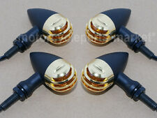 4X Black Gold Turn Signal Indicator Light For Harley Cafe racer Bobber Chopper