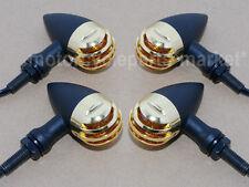 4X Black Gold Turn Signal Indicator Light For Harley Cafe racer Bobber Chopper