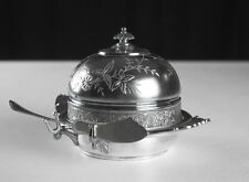Tufts Silver Engraved Covered Butter Dish, Antique Victorian, Quadruple Plate
