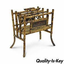 Vtg Bloomingdales English Charred Bamboo Asian Canterbury Magazine Rack Stand