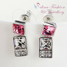 18K White Gold GF Made With Swarovski Element Square Strip Pink Stud Earrings