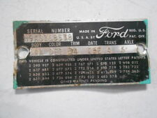 1959 FORD GALAXIE H9AS VIN BODY 54A DATA PLATE TAG 352 V8 CRUISE-O-MATIC ORIG OE