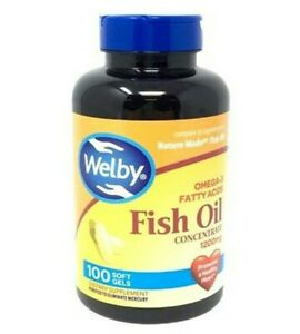 Pack of 1 - 4 bottle Welby Fish Oil 1200mg Omg-3 100-Count Softgels Each Bottle.