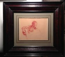 "drawing red charcoal framed ""young boy"" signed by stuart kaufman 1926-2008"