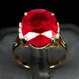 RUBY BLOOD RED OVAL 12.70 CT. SAPPHIRE 925 STERLING SILVER ROSE GOLD RING SZ 8.5
