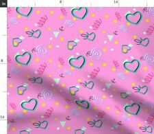 80S 90S Confetti Pastel Kawaii Heart Swirl Fabric Printed by Spoonflower BTY