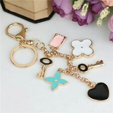 Roses Flower Heart Type Key Chain Bag Purse Charm Ring Crystals Keychain