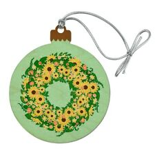 Summer Wreath Sunflowers  Wood Christmas Tree Holiday Ornament