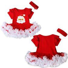 2PCS Newborn Infant Baby Girl Kids Xmas Romper Playsuit Tutu Dress+Headband Set