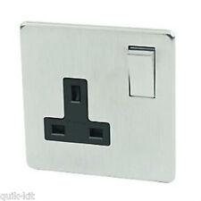 Crabtree 7314/SC Platinum 1 Gang 13A Switch Socket Satin Chrome / Black Insert