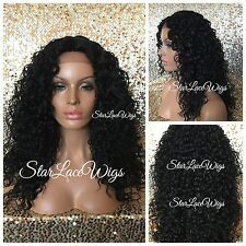 Long Curly Deep Wave Lace Front Wig Layer Off Black #1b Middle Part Heat Safe