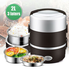 2L Electric 3 Layers Portable Lunch Box Mini Rice Cooker Steamer Stainless Steel