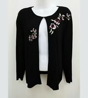 Hampshire Studio Womens Plus 1X Black Cardigan Sweater 3/4 Sleeve Embroidery B17