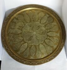 Beautiful Vintage Middle Eastern Solid  Brass Tray