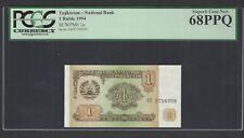 Tajikistan One Ruble 1994 P1a Uncirculated Graded 68