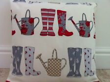 """New Handmade Red & Blue Wellies Watering Can Fabric scatter Cushion Cover 16"""""""