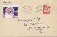"""GB 1962 QEII 2 ½D machine-postmark """"HARPENDEN / HERTS."""" CINDERELLA to USA"""