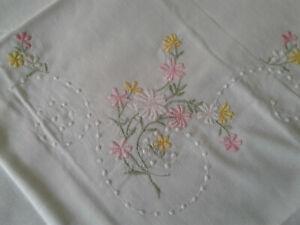 Vintage PAIR BRAND NEW White 100% Cotton Embroidered Pillowcases Scalloped Edges